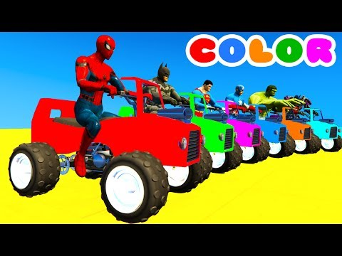 Thumbnail: LEARN COLOR with ATV on BUS & Spiderman Cartoon for Kids w Cars Superheroes for babies!