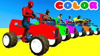 OTOBÜS ve Çocukları w Arabalar için Örümcek Adam Çizgi film, ATV ile ÖĞRENMEK RENK bebekler için süper kahramanlar!