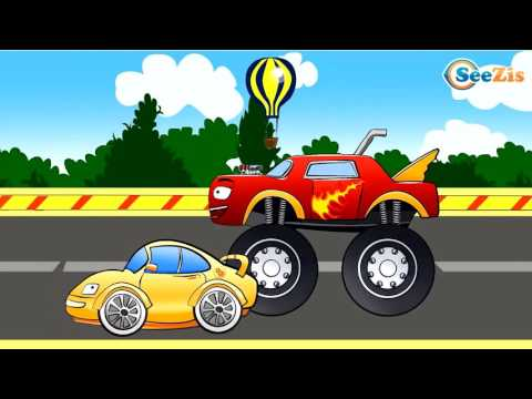 ✔ Monster Truck Crazy Race and High Speed / Track with obstacles / Cartoons Compilation fo