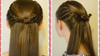 Faux French Braids and Braided Bow, Cross Bow Hairstyle Tutorial