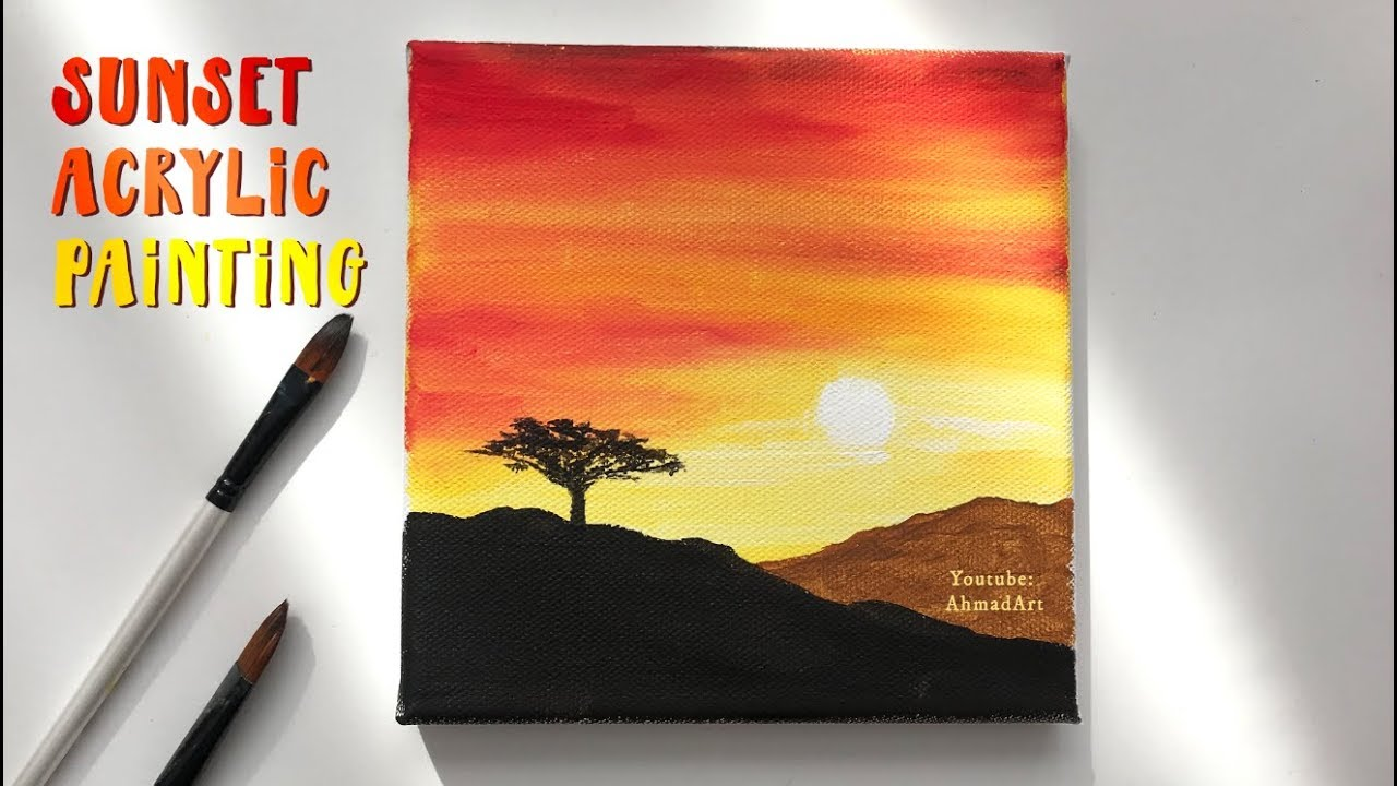 Easy Step By Step Sunset Acrylic Painting For Beginners Youtube