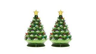 Winter Lane Set of 2 Lighted Musical Ceramic Christmas T...