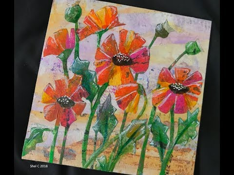 Mixed Media Collage Using Gel Prints - Paper Painting Poppies on Wood Panel
