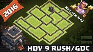 Clash Of Clans, Village HDV 9, RUSH / GDC ! Efficace ! New Maj 2016, SpeedBuilding. Anti 3 étoiles