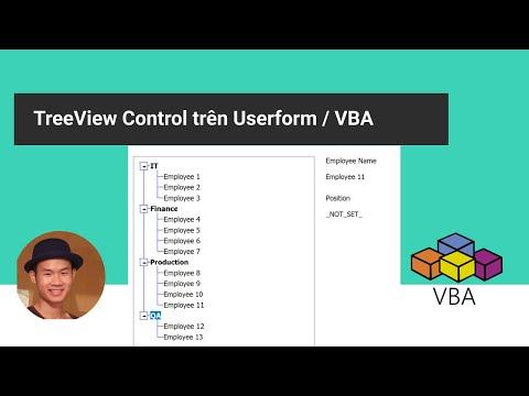 Cách thiết lập TreeView control trên Userform - phần 1
