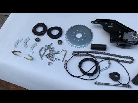 Велосипед с двигателем от мотокосы. Редуктор и комплектующие
