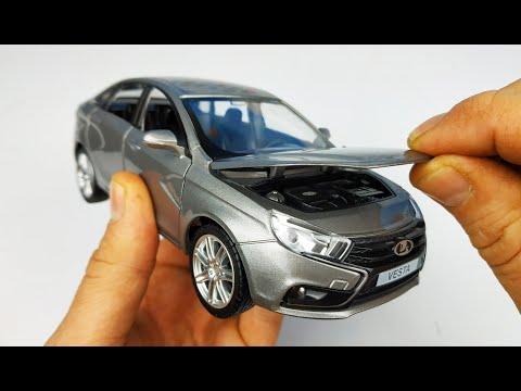 Машинка моделька Лада Веста масштаб 1/24 Автопанорама свет и звук! Распаковка и обзор машинки!