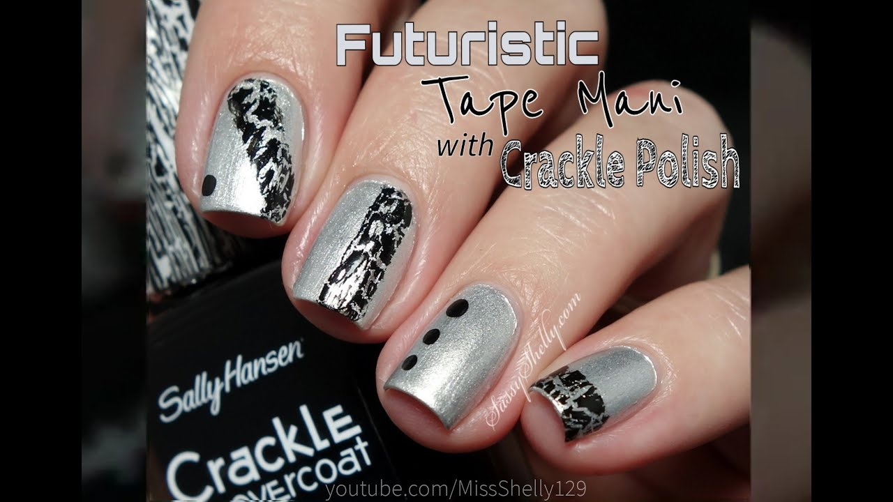 Easy Nail Art ~ Black & Silver Tape Mani - YouTube