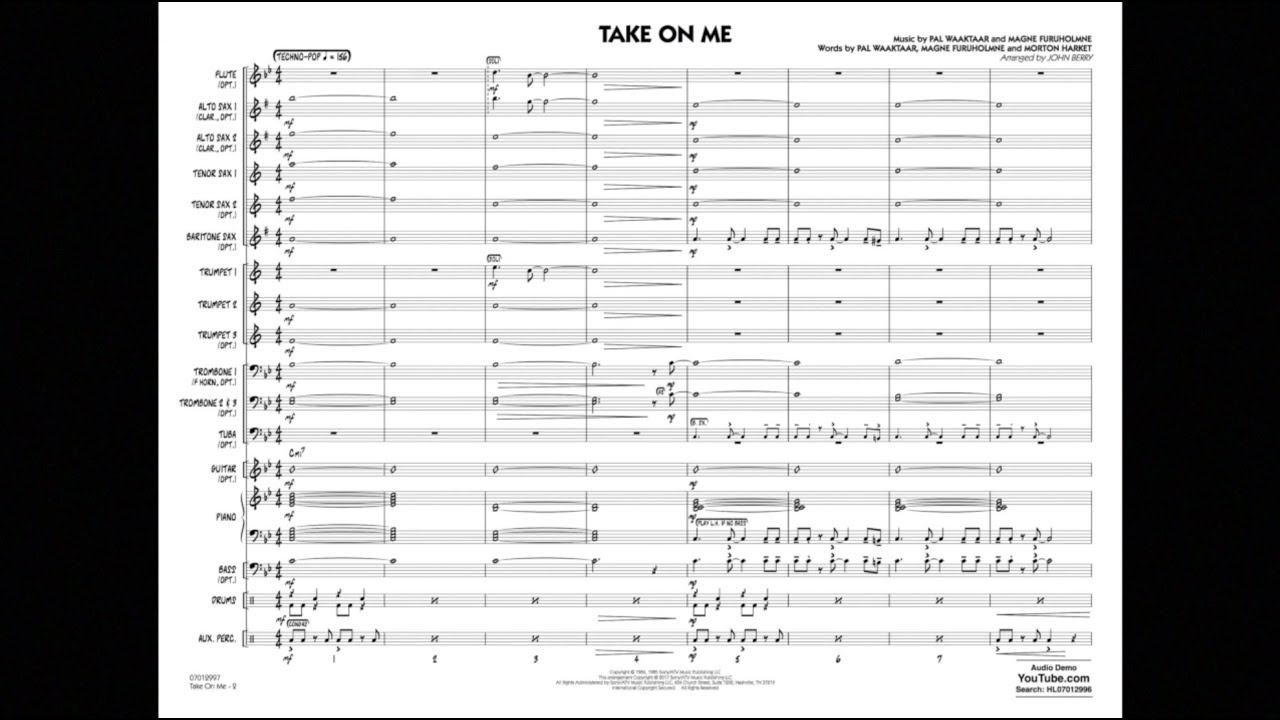 Take On Me arranged by John Berry - YouTube