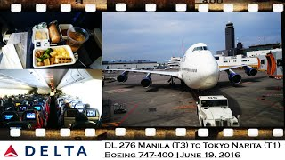 DELTA AIRLINES DL 276 MANILA TO TOKYO-NARITA ON BOEING 747-400 Main Cabin