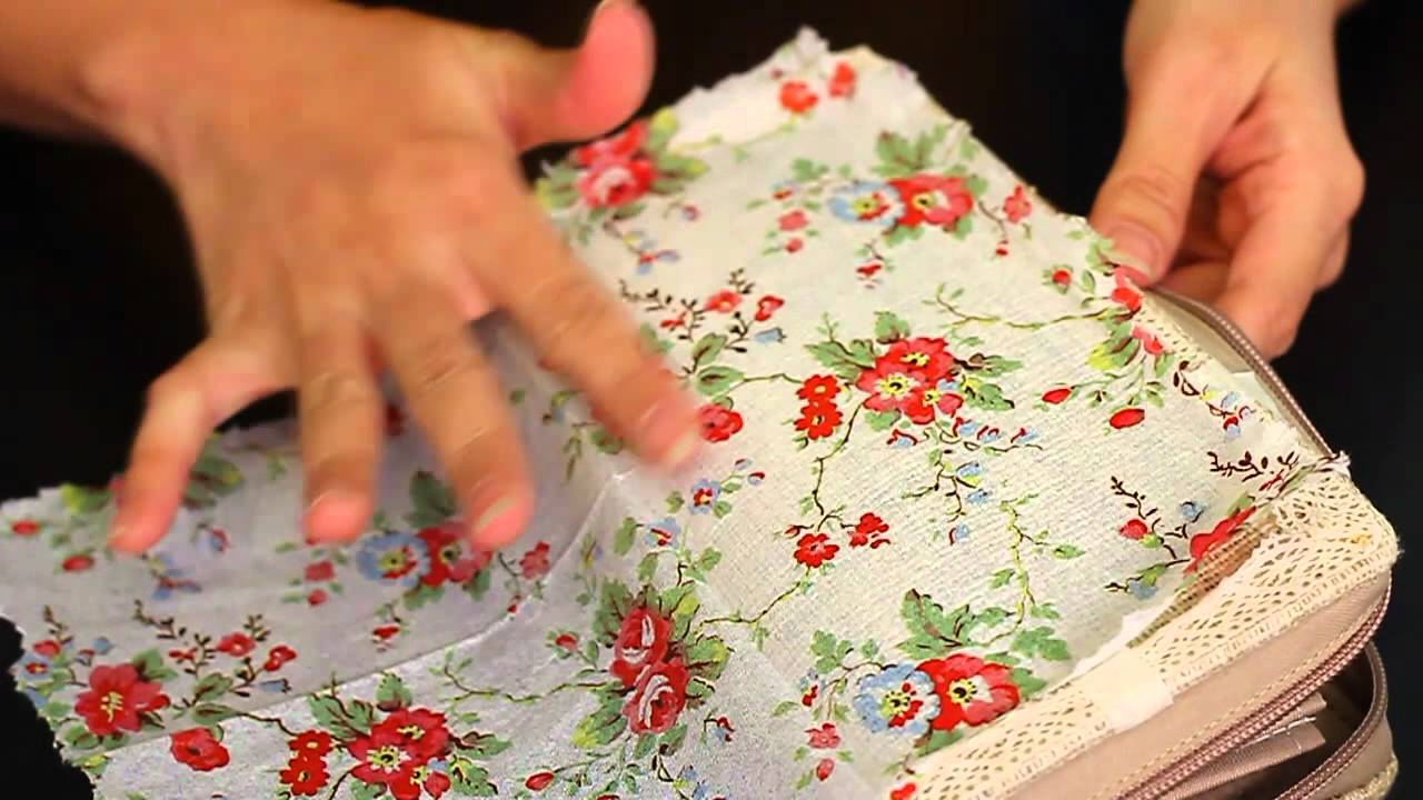 Let S Diy Napkin Decoupage On Fabric Purse Youtube