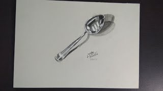 Draw steel spoon || Some of 3D Illusion | 3D spoon drawing
