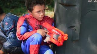 NERF GUN WAR - KIDS VS DAD! Family Fun Pretend Play Toys Fun Game Play | Kids BABY SONGS FOR KIDS