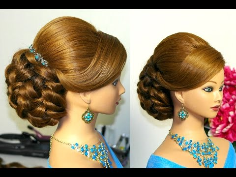 Hairstyle for long hair tutorial. Bridal updo