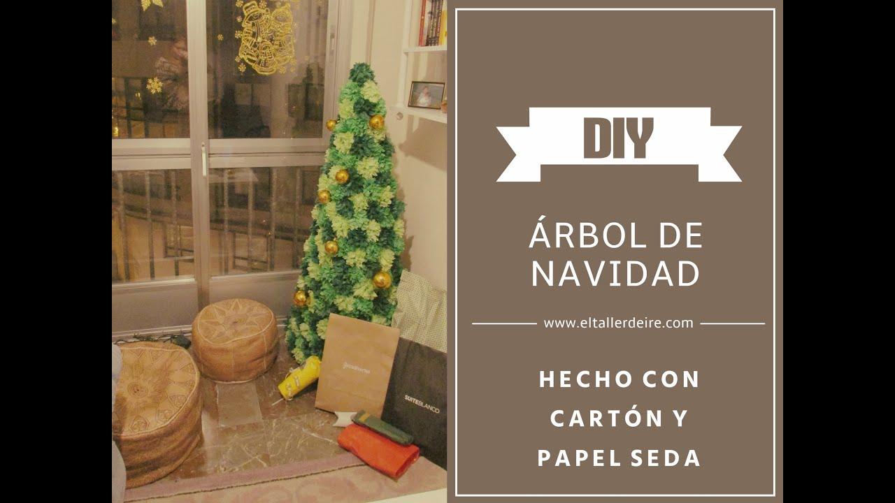 C mo hacer un rbol de navidad de cart n y papel seda - Tutorial arbol de navidad ...