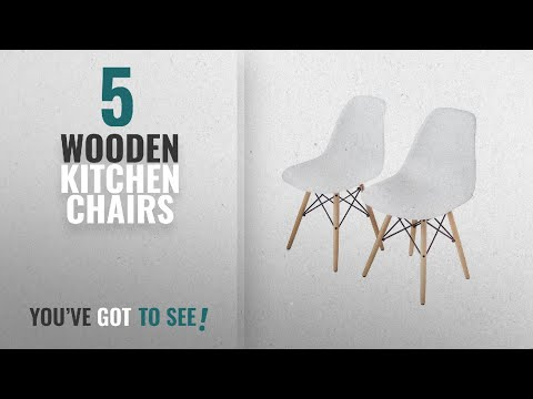 Top 10 Wooden Kitchen Chairs [2018]: Buschman Set of Two White Eames-Style Mid Century Modern Dining