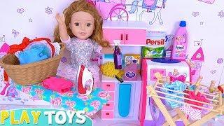 Doll House Cleaning Washing & Ironing Toys!