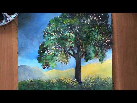 Lonely tree watercolor tutorial, a step-by-step lesson