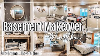 BASEMENT MAKEOVER MARATHON 2020 :: 3 BEDROOM TRANSFORMATIONS + THEATER ROOM MAKEOVER