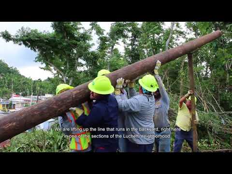 PREPA Installs Power Pole by Hand in Puerto Rico Neighborhood
