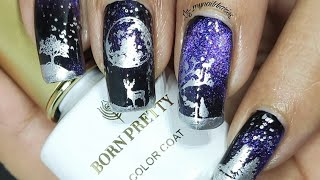 Mystical Woods Nail Art Tutorial!!! Bornpretty Store 9D Magnetic Gel Polish Review And Demo!!!