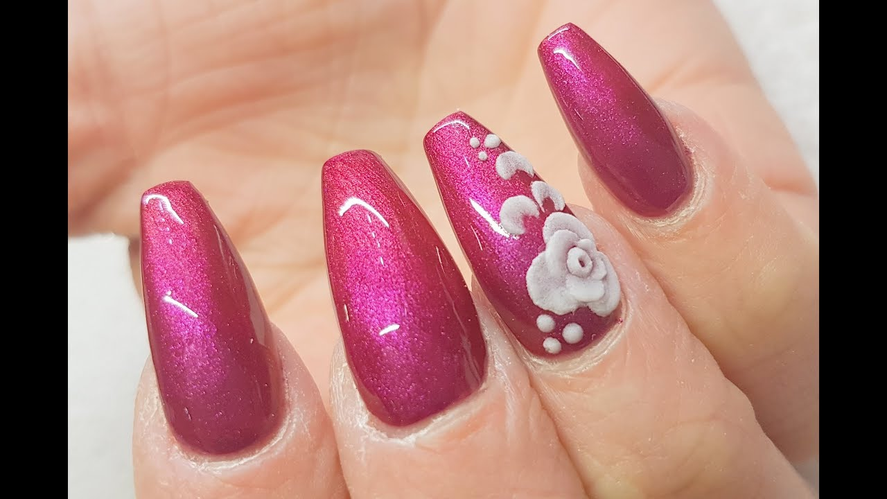 Acrylis Nails Infill Burgundy Red White 3d Flowers Nail Design