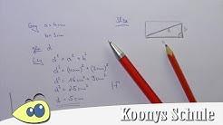 Diagonale von Rechteck berechnen, Beispiel, Satz des Pythagoras