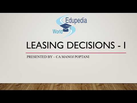 Leasing Decision | Introduction | Categories Of Leasing [Operating Lease & Financial Lease] | Part 1
