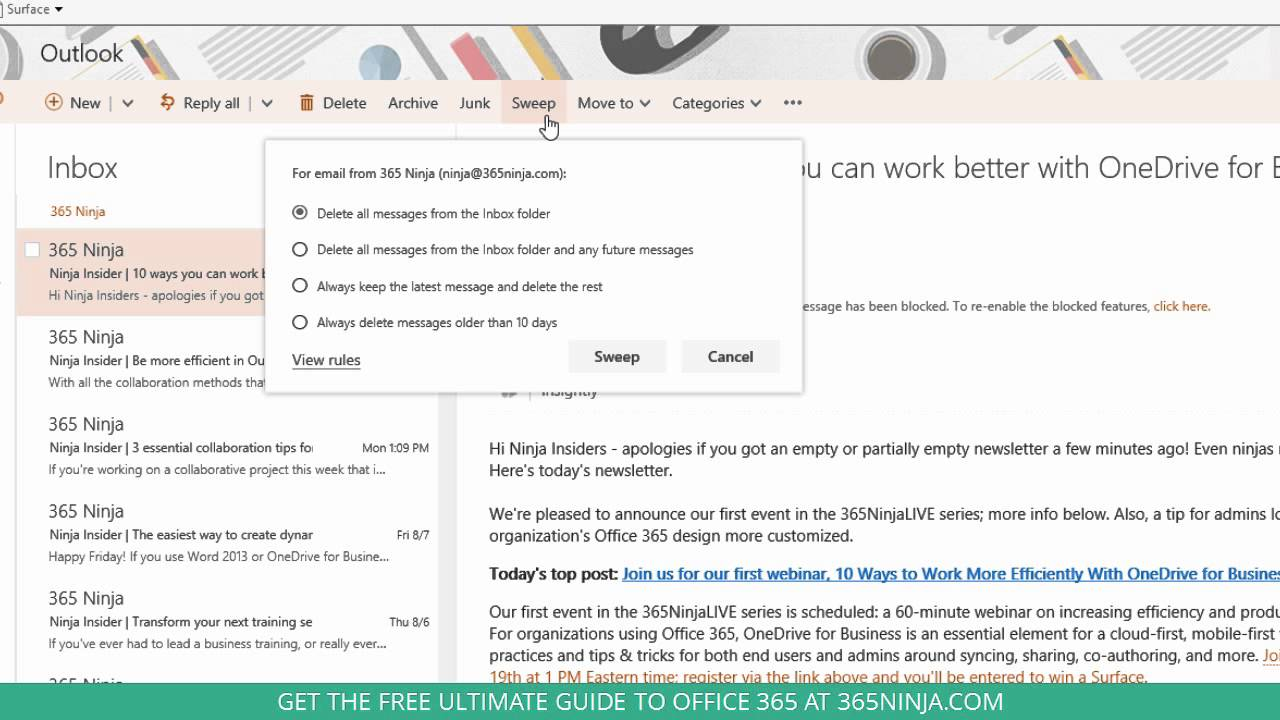 How to Use Sweep to Clean Up Your Office 365 Inbox