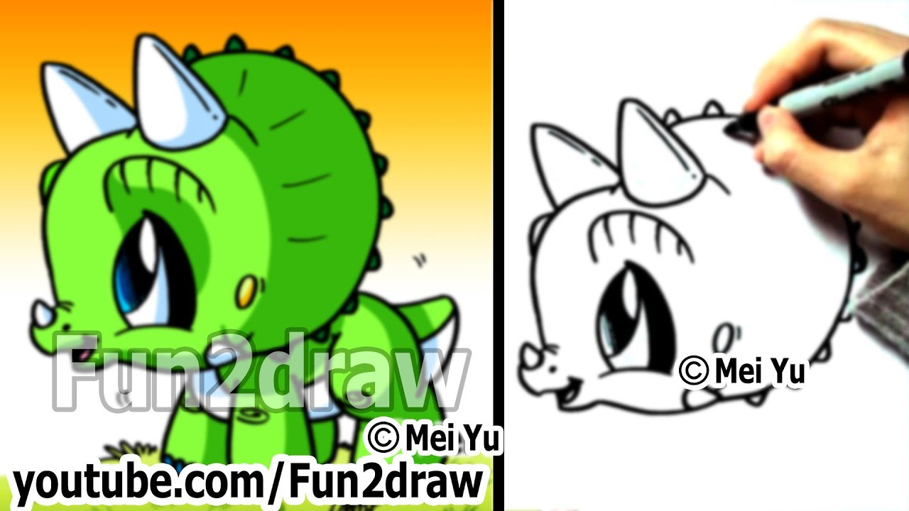 Easy To Draw  How To Draw A Dinosaur  Triceratops  Drawing Step By Step   Fun2draw  Youtube