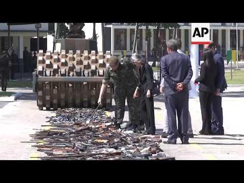 Brazilian army destroys illegal firearms