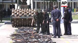 Brazilian army destroys illegal firearms