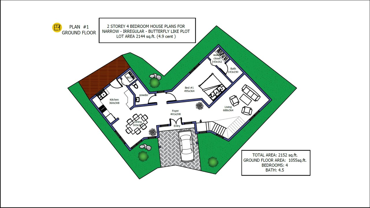 4 Bedroom House Plan In Narrow And Butterfly Shaped Plot 4 9 Cent Minimalist House Build To Plot Youtube