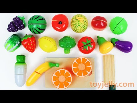 Learn Names of Fruits and Vegetables with Velcro Cutting Food, Ice Cream Blender Mixer Playset Toys