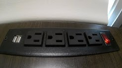Install- Recessed Power Strip Socket with Switch 4 Power Outlets 2 USB Hubs with 2 Screws
