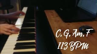 Rock Backing track with piano accompaniment. C major. C G Am F |113BPM