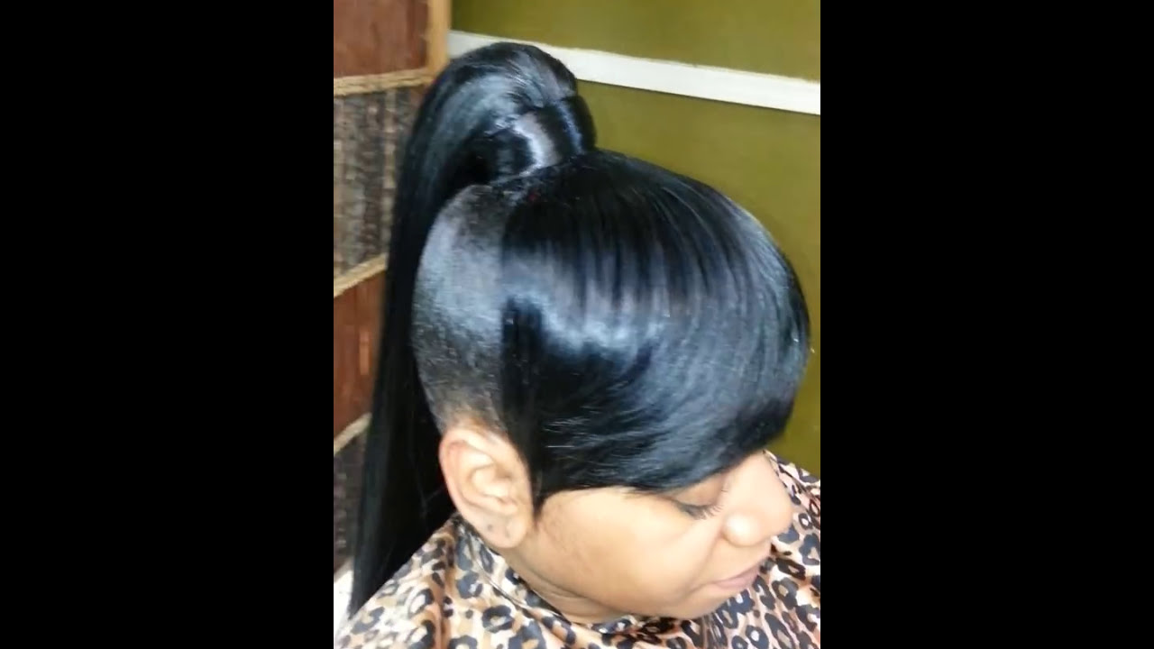High Genie Ponytail And Bang Quick Weave Youtube