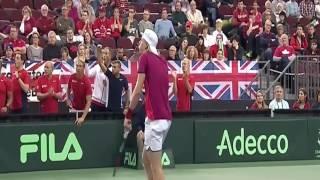 Denis Shapovalov hits umpire in the face (GBR vs CAN Davis Cup 2017)