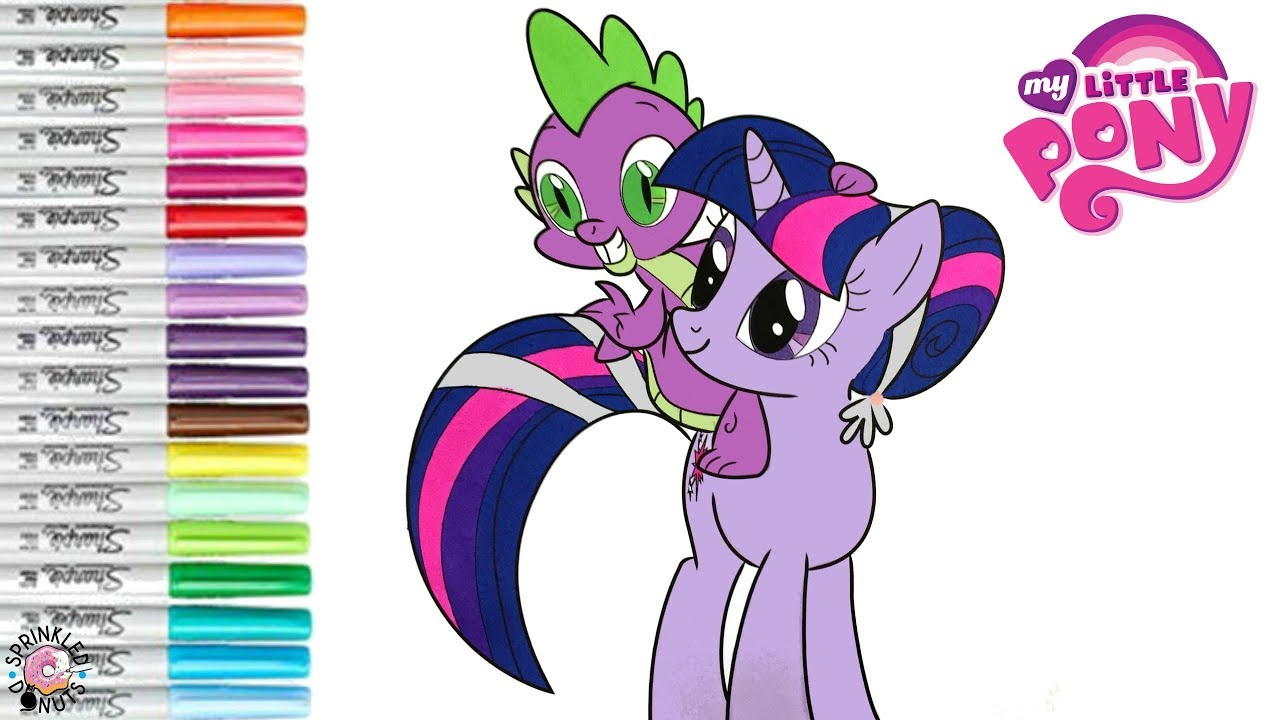 my pony coloring book page twilight sparkle spike