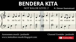 Gambar cover not piano bendera kita - notasi balok level 2 - lagu wajib nasional - do re mi / sol mi sa si