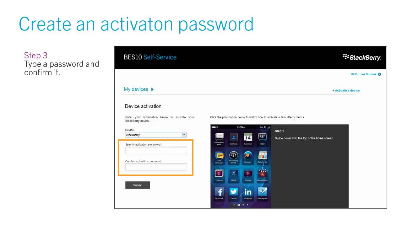 How to create an activation password for your BlackBerry device