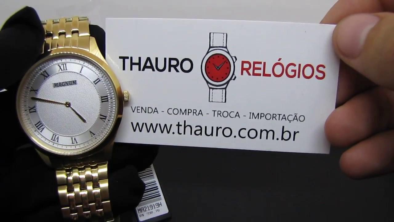 d2b3cf2d081  REVIEW  Relógio Magnum MA21919H Dourado Social Clássico Slim em Aço -  YouTube