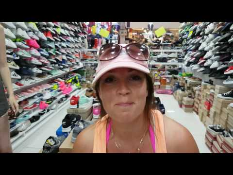 Mel buying trainers in Marmaris Grand Bazaar Turkey