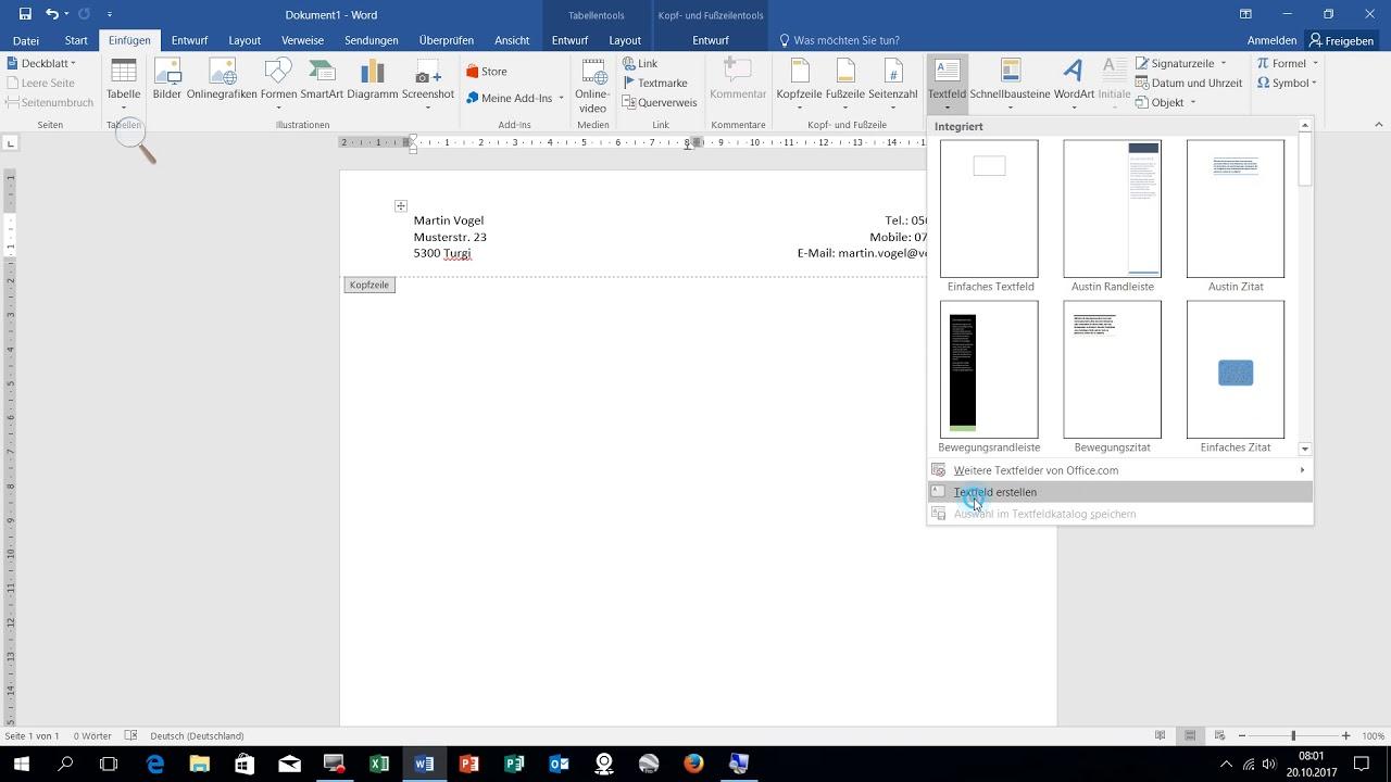 Word 2016 Brief Einrichten Schrift Seite Formate Kopfzeile