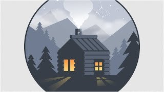 Night Scene | Flat Vector Illustration of Forest House