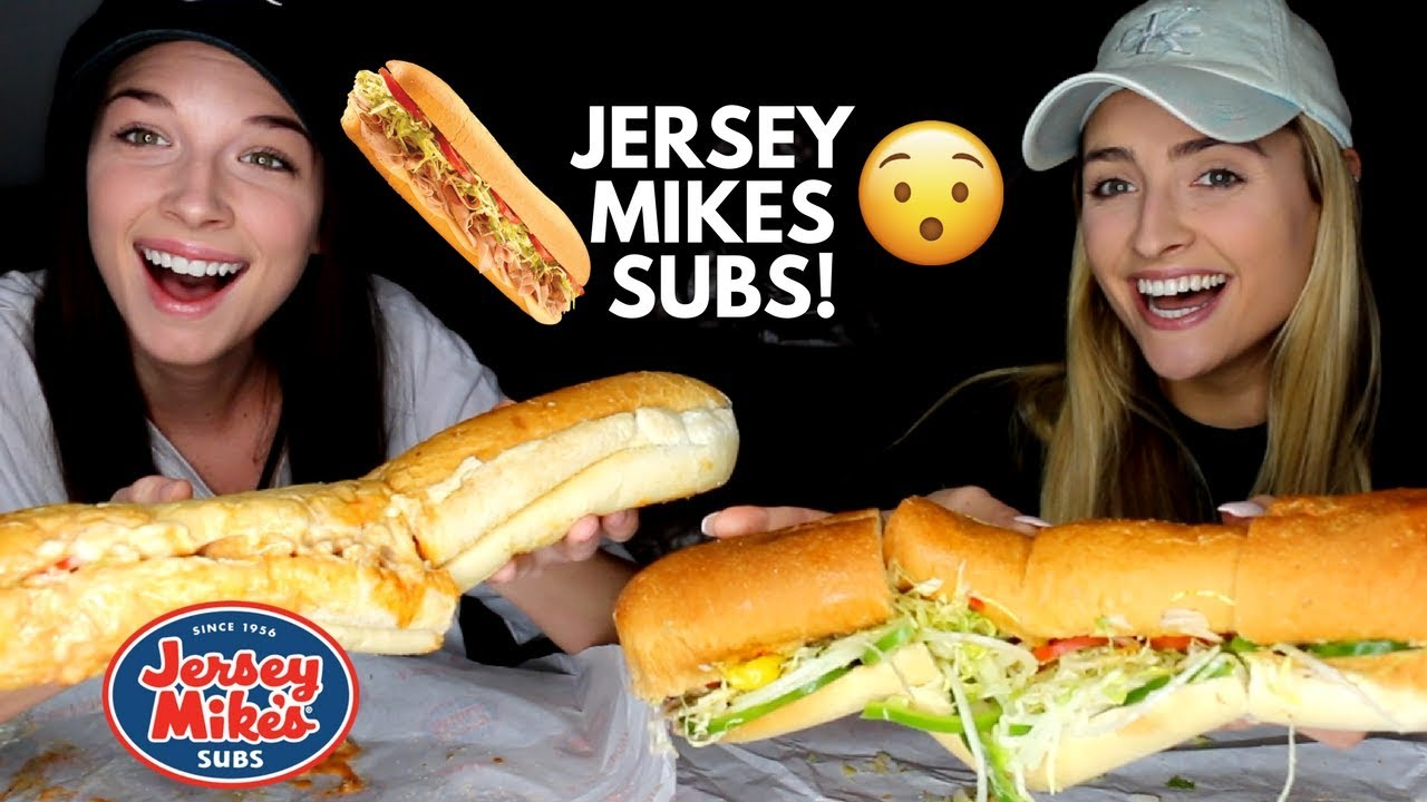 JERSEY MIKES GIANT SUBS! Chipotle Chicken Cheese Steak and Veggie Subs Mukbang