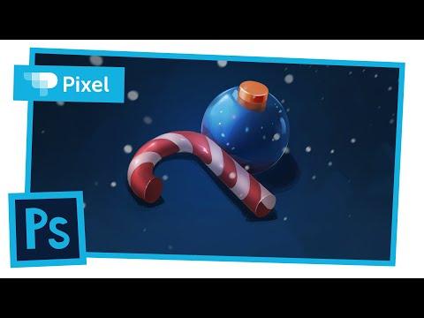 Рисуем новогоднюю иллюстрацию в Adobe Photoshop | уроки для новичков