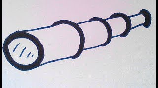 Как нарисовать подзорную трубу - How to draw a telescope - 如何绘制望远镜