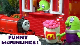 Funny Funlings McDonalds Drive Thru with Thomas and Friends Toy Trains for kids TT4U
