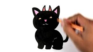 How to Draw a Kitty - Devil Version - Halloween Drawings